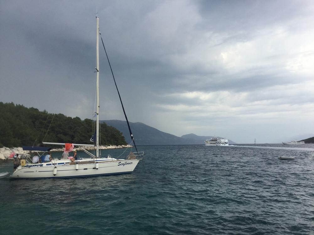 Dark weather at Fiskardo bay