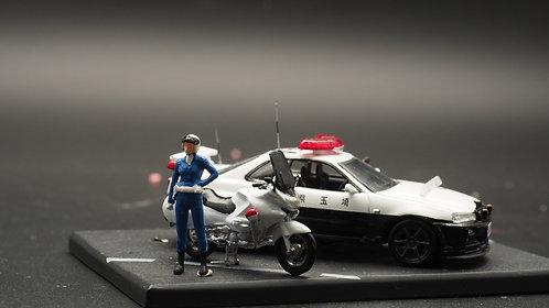 FigureWorkShop 1/64 Figures Japan Police with Bike  2Pcs SetC FWS164141