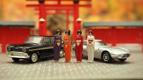 FigureWorkShop 1/64 Figures 4Pcs Set FWS164029 Japan Kimono
