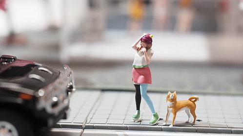 FigureWorkShop Pro Series   1/64 Figures 2Pcs Set FWS164011 Girl With Dog