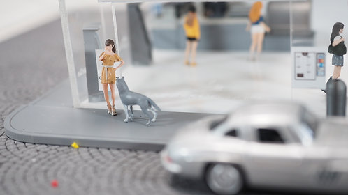 FigureWorkShop 1/64 Figures Girl with Dog 2Pcs Set FWS164144