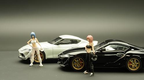 FigureWorkShop 1/64 Figures Teen Racer Black n white 2Pcs Set FWS164069