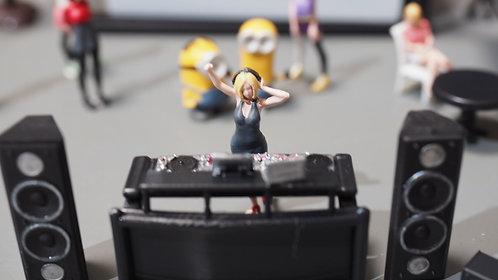 FigureWorkShop 1/64 Figures DJ Set (Black ) 6 Pcs Set FWSR164155