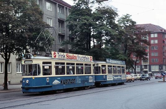 """Triebwagen 2462 im Olympiabetrieb 1972 als Linie """"Y"""" münchen olympische Spiele tram trambahn"""