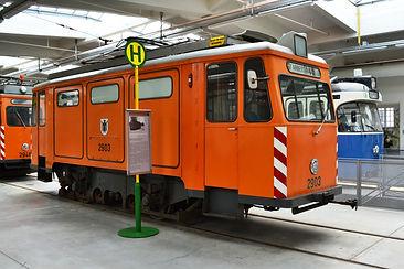 Schienenschleif und Reinigungswagen  Typ: SSR 1.59 Betriebsnummer: 36 Letzte Betriebsnummer: 2903 im MVG-Museum münchen tram