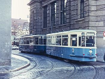 M-Zug mit Beiwagen TYP m 3.64 in der Bernheimer Klamm 3390 münche tram trambahn