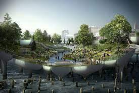 Little Island- parcul sustinut de 132 de lalele din beton
