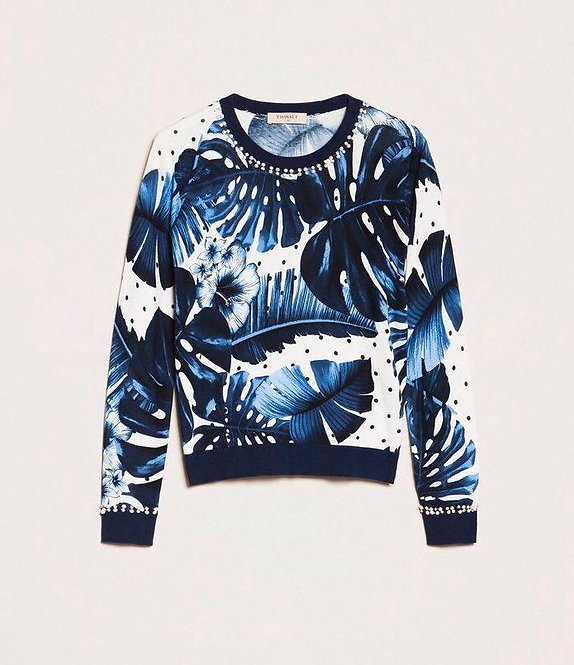 TWINSET PRINTED JUMPER WITH EMBROIDERY