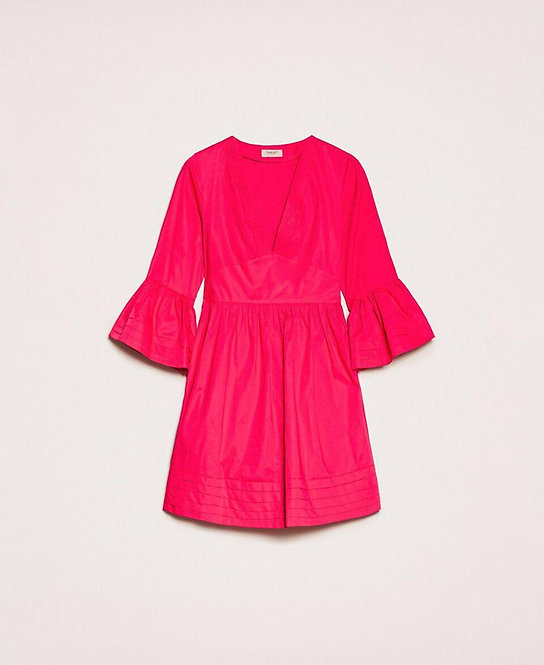 TWINSET POPLIN DRESS WITH PLEATS