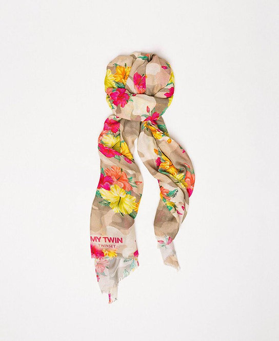 TWINSET CAMOUFLAGE AND FLORAL PRINT STOLE