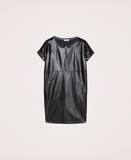 TWINSET FAUX LEATHER DRESS WITH EMBROIDERY
