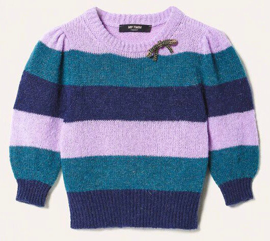 TWIN SET STRIPED MOHAIR PULL