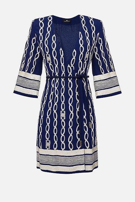 ELISABETTA FRANCHI EMBROIDERED WRAPAROUND DRESS