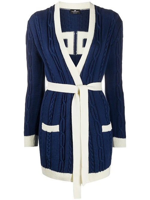 ELISABETTA FRANCHI KNITTED SWEATER WITH BELT