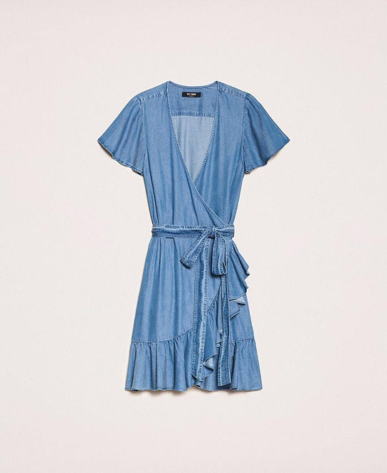 TWINSET FLOWING DENIM DRESS WITH FLOUNCE