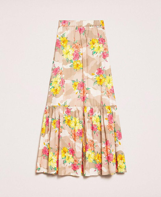 TWINSET CAMOUFLAGE AND FLORAL PRINT SKIRT