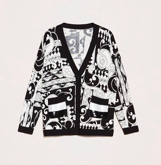 TWINSET PRINTED CARDIGAN WITH SEQUINS