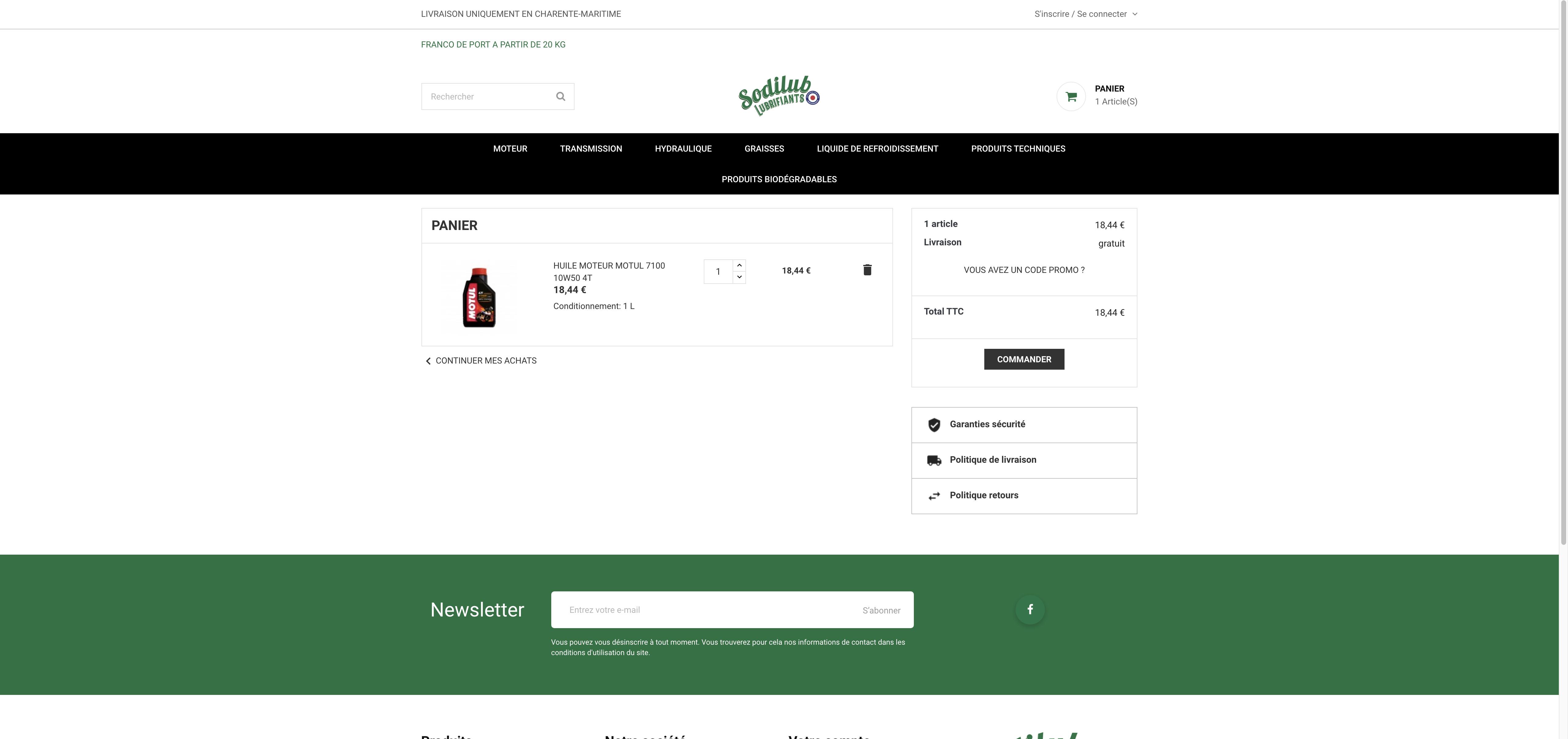 Site Sodilub Lubrifiants panier