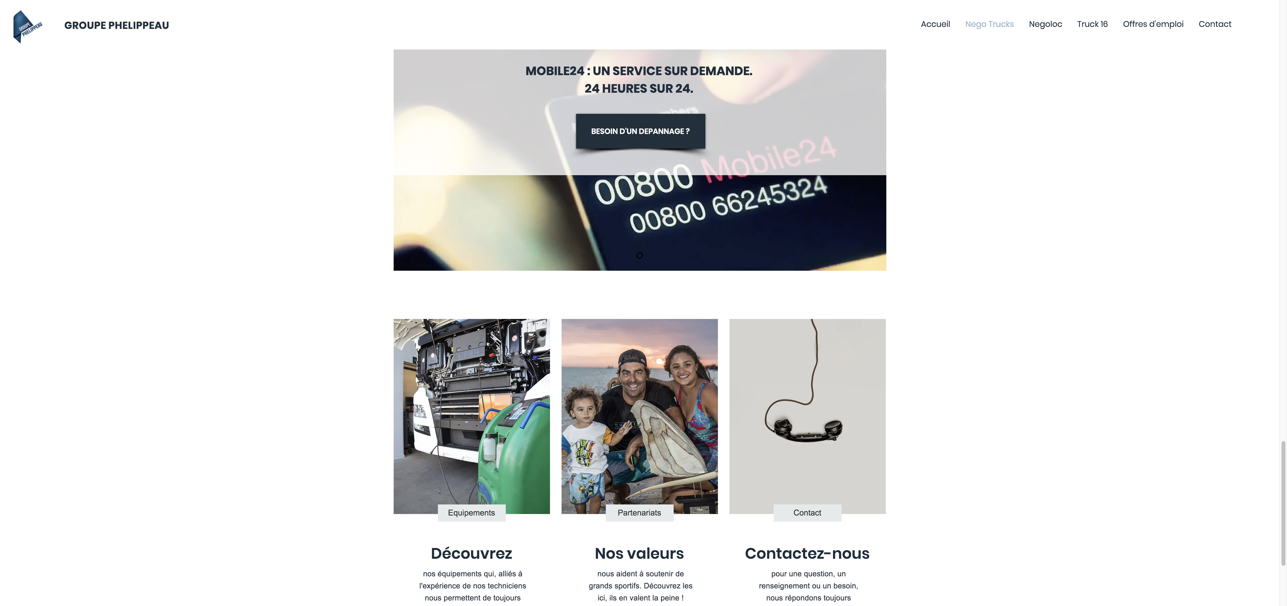 Site Groupe Phelippeau page Nego Trucks