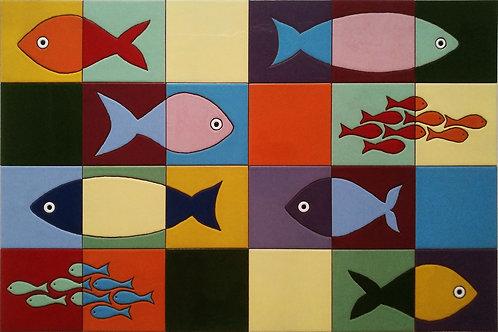 Plaque céramique poissons