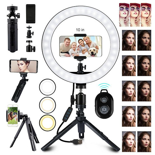 "10"" LED Light Ring + Tripod Stand Holder With Remote"
