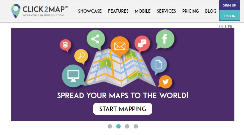 Click2Map destaca por tener una interfaz amigable para ayudarnos a crear mapas fácilmente. Las numerosas y potentes funcionalidades de Click2Map nos permiten crear mapas profesionales en poco tiempo.