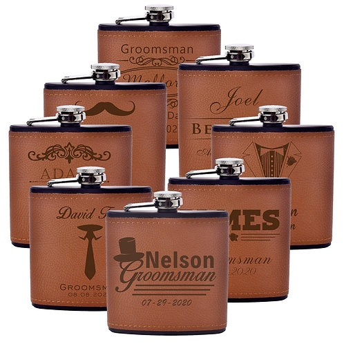 6 oz Leather Personalized Flask
