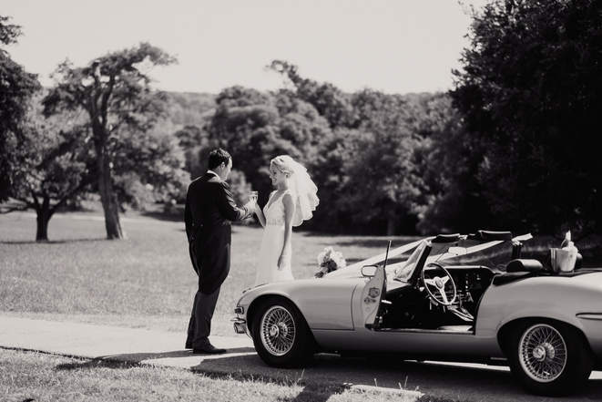 E-type Jaguar Firle Place Wedding