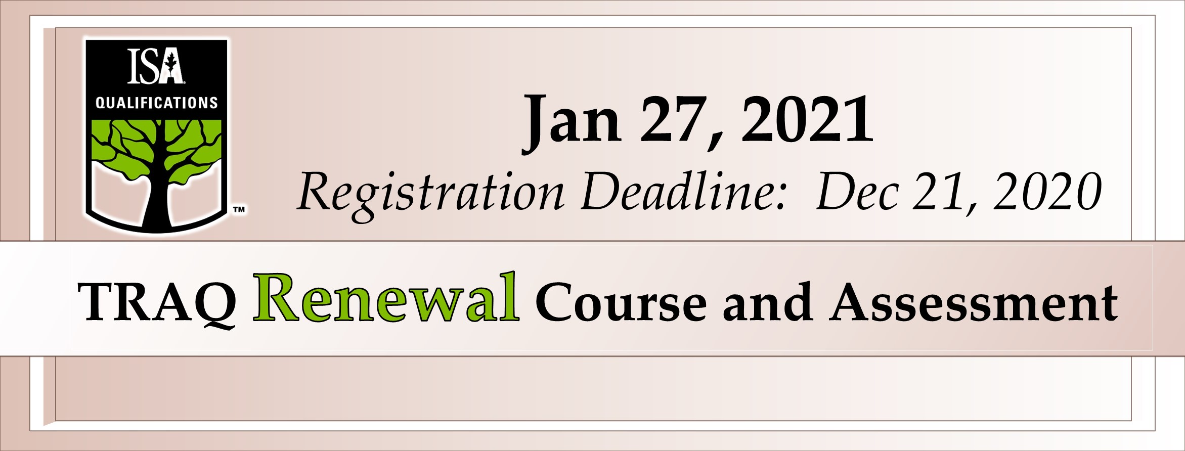 TRAQ Renewal Course & Assessment at Jan 27, 2021