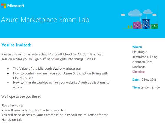 Azure MarketPlace SmartLab Event