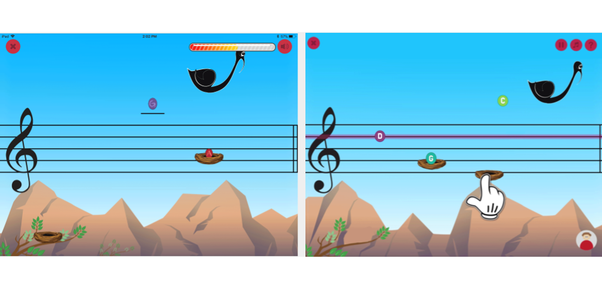 Existing on the left vs. proposed on the right: providing access to user profile page from the game page, making music notes more legible, informing players of where the missed note is supposed to be placed and playing each note when caught.