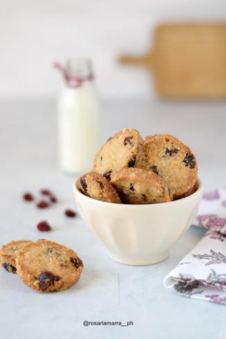 Cookies vegan, cocco e cramberry
