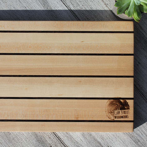 Maple Cutting Board with Wenge Stripes