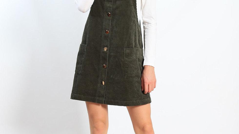 Khaki Overall Dress
