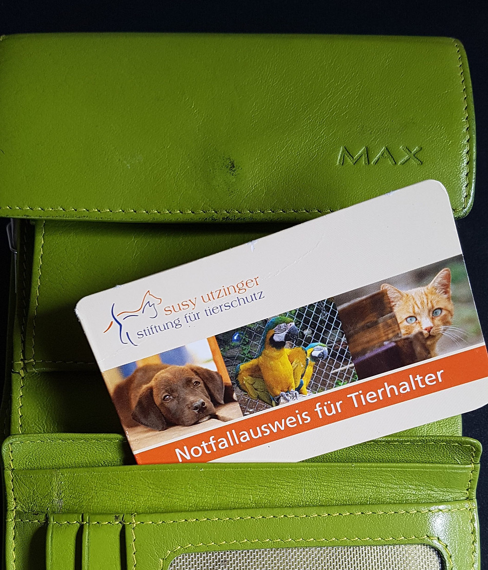 Karte Notfallausweis für Tierhalter