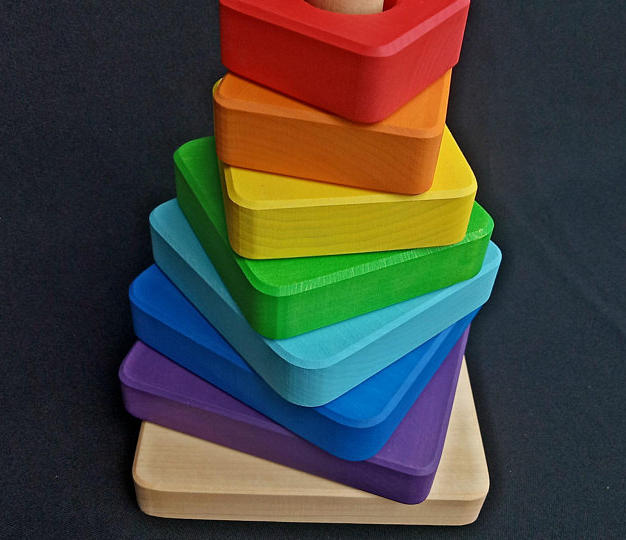 Etsy Wooden Educational Toy Rainbow Wood Toy