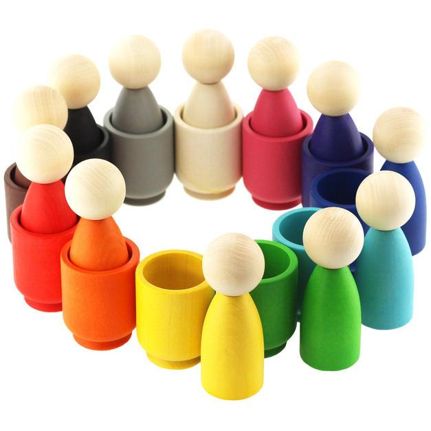Etsy Azhna Ulanik Crafts Ulanik Gnomes in Cups Montessori Wooden Sorter Game