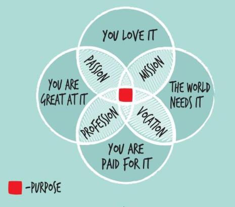 Model that connects Mission, Passion, Profession, and Vocation, to define Puirpose as their common element