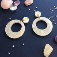 Ivory Sparkle Star Hoop Earrings