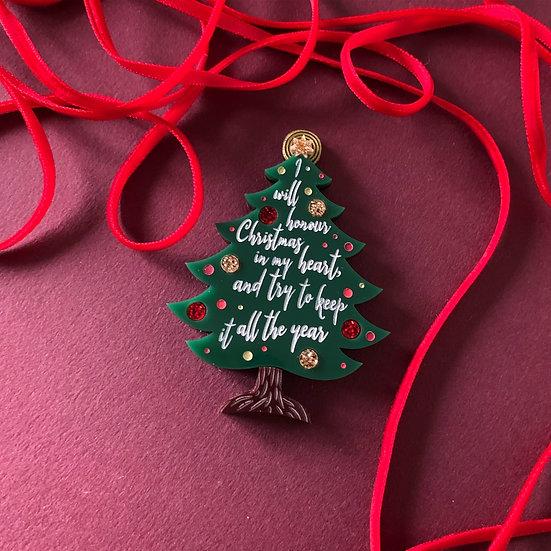 Christmas in my Heart Tree Brooch