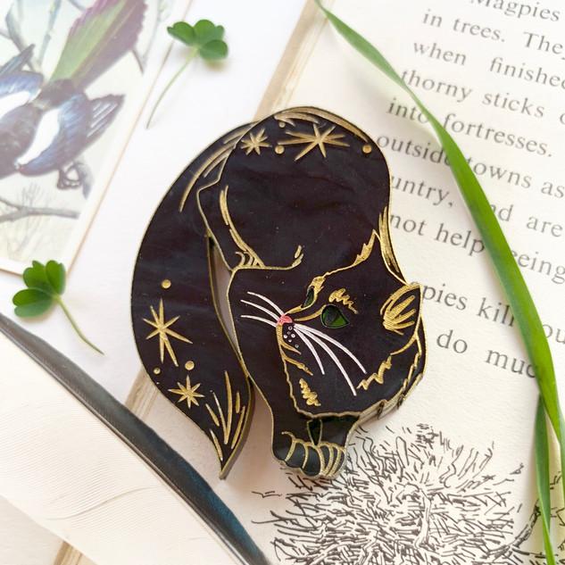 Salem the Cat Brooch *Black Marble Edition*