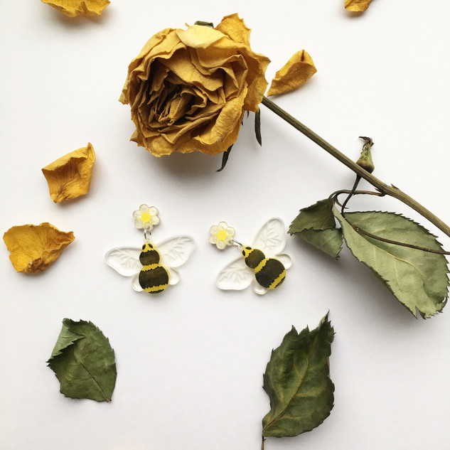 Bumblebee & Flower Earrings