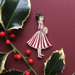 Candy Cane Carol Singer Brooch