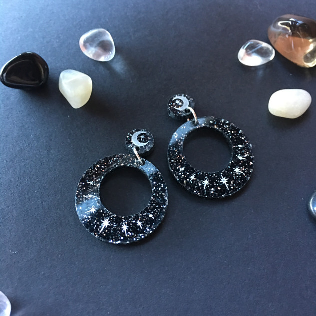 Black Sparkle Star Hoop Earrings