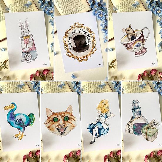 Set of 7 Wonderland A5 Art Prints
