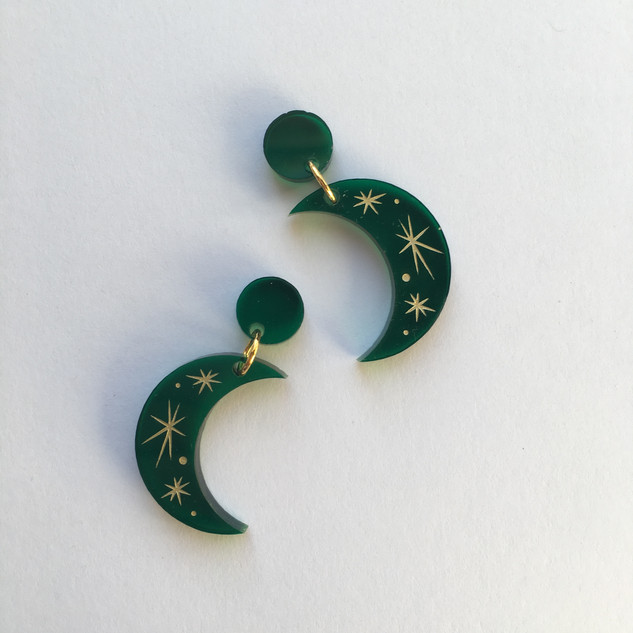 Green Moonshine Earrings