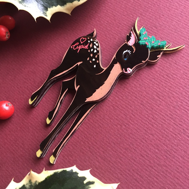 Cupid the Reindeer Brooch