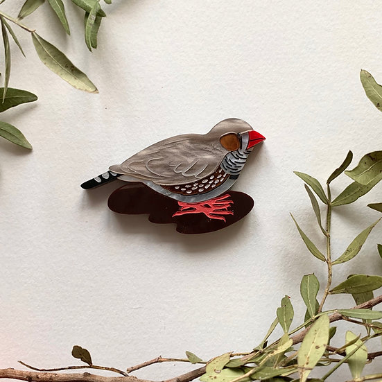 *Fundraiser* Charles the Zebra Finch Brooch