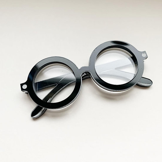 *Seconds Sale* The Wizards Spectacles Brooch *Black Frames*