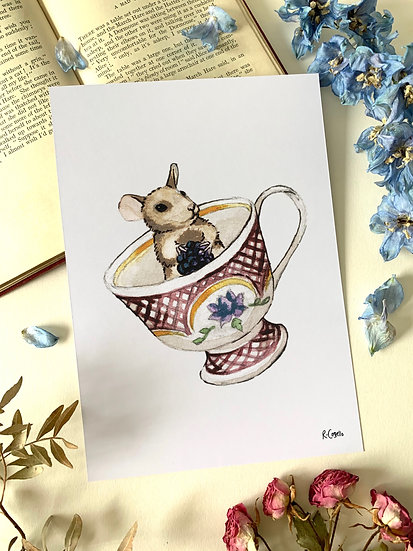 Teacup Dormouse - A5 Art Print